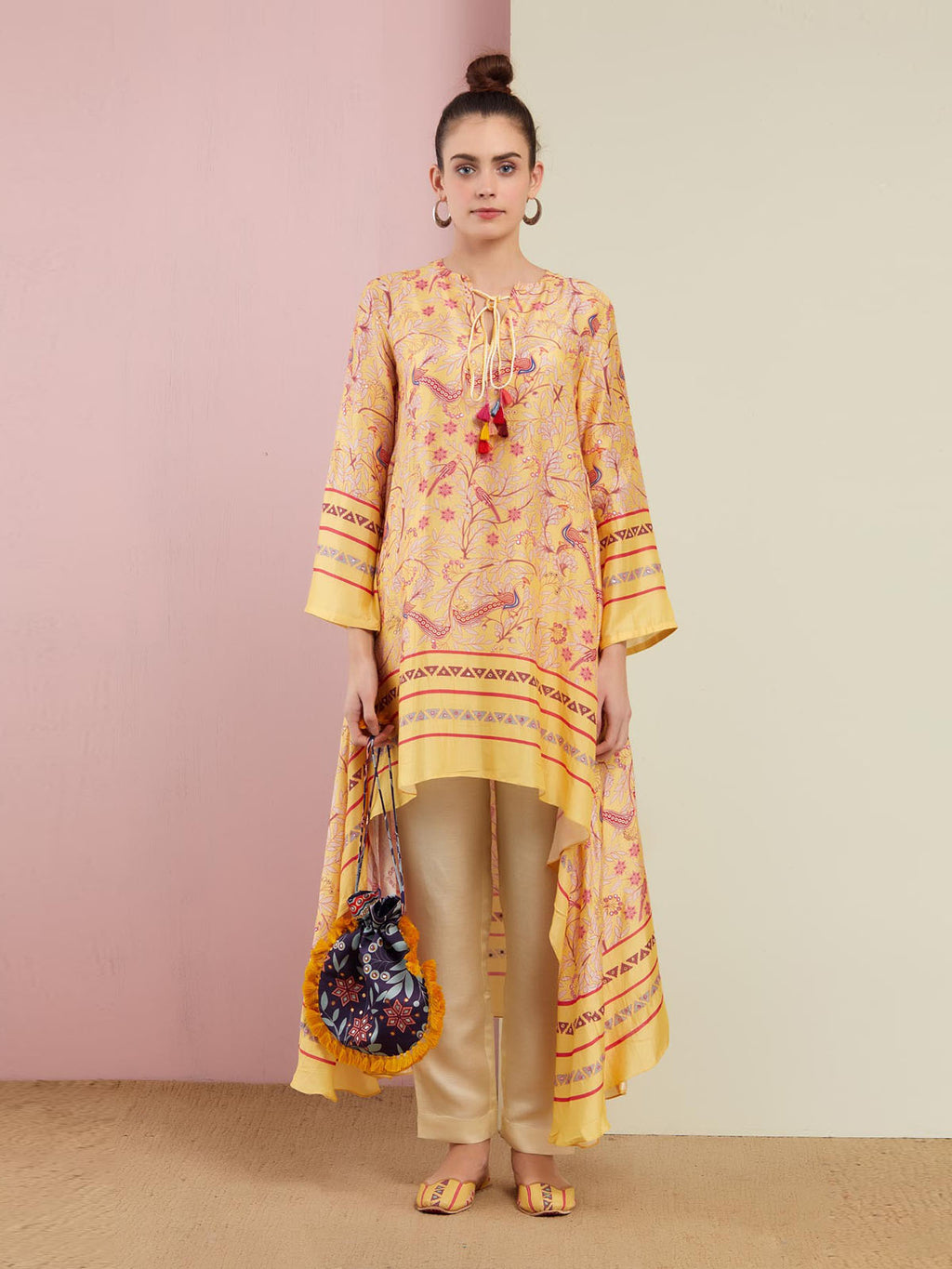 YELLOW MORBAGH ASYMMETRICAL EMBROIDERED TUNIC