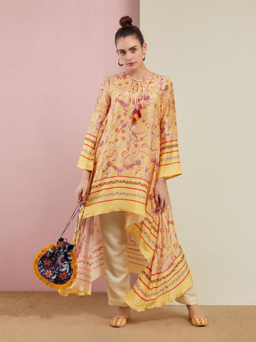 MORBAGH RED heavy embroided yoke kurta set