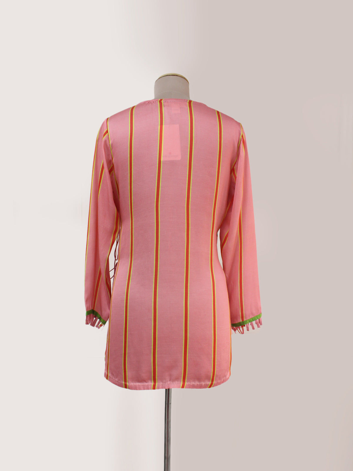 BLUSH STRIPED APPLIQUE WRAP TOP