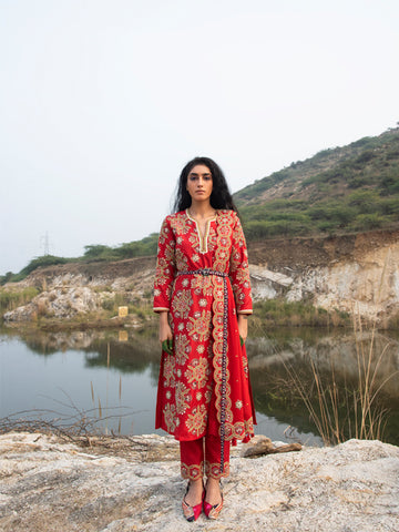 MORBAGH RED embroided sharara, jacket and cape