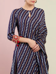 NAVY TRIBAL STRIPES ASYMMETRICAL TUNIC