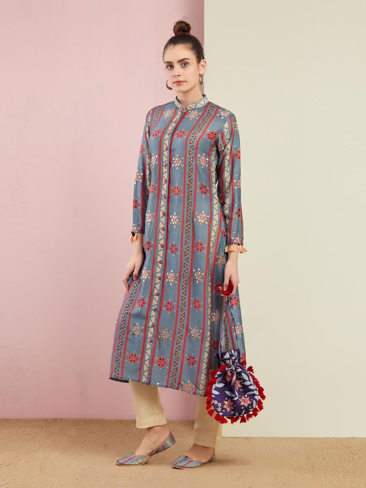 GREY STRIPE EMBROIDED  FRONT OPEN KURTA WITH PANTS