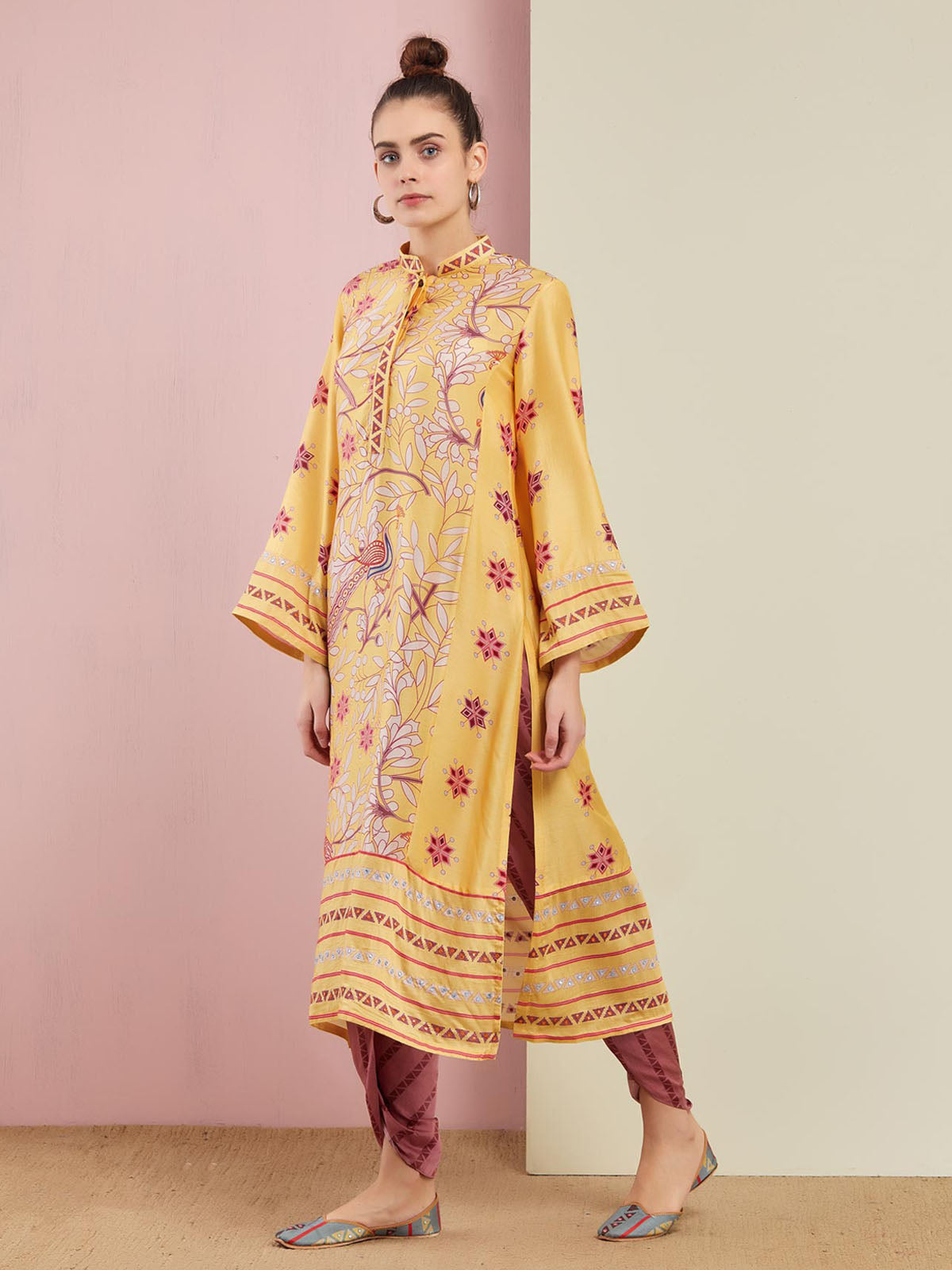 MORBAGH YELLOW EMBROIDED STRAIGHT KURTA WITH PANTS