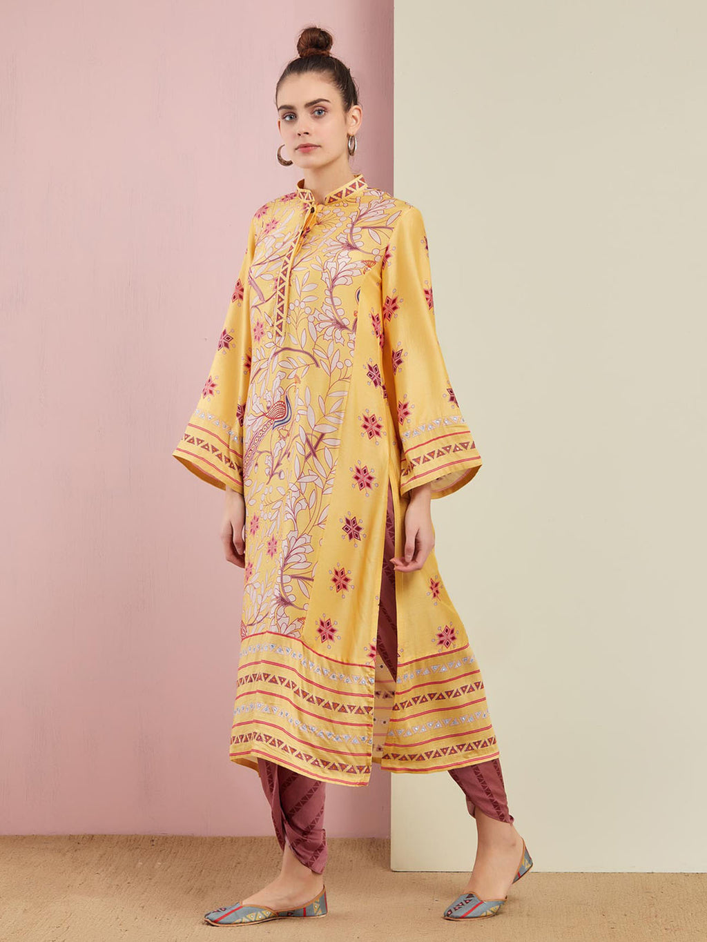 MORBAGH YELLOW EMBROIDERED STRAIGHT KURTA WITH PANTS