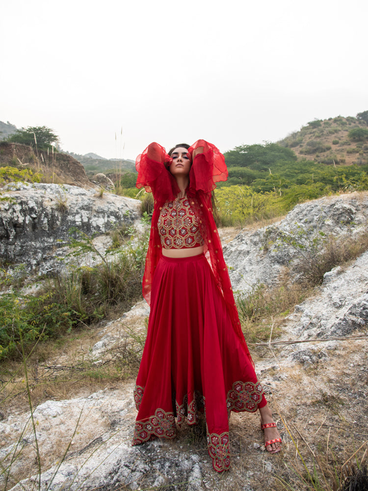 MORBAGH RED EMBROIDED LEHENGA WITH HALTER AND CAPE