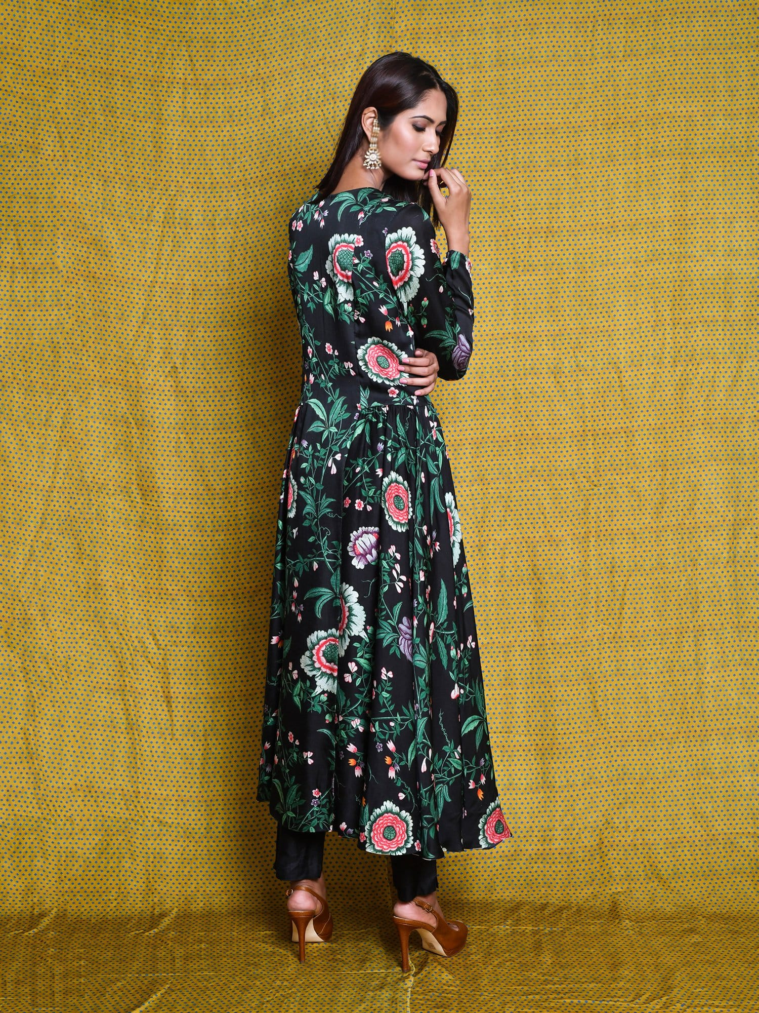 Vintage Garden Black Jaal Tunic Dress