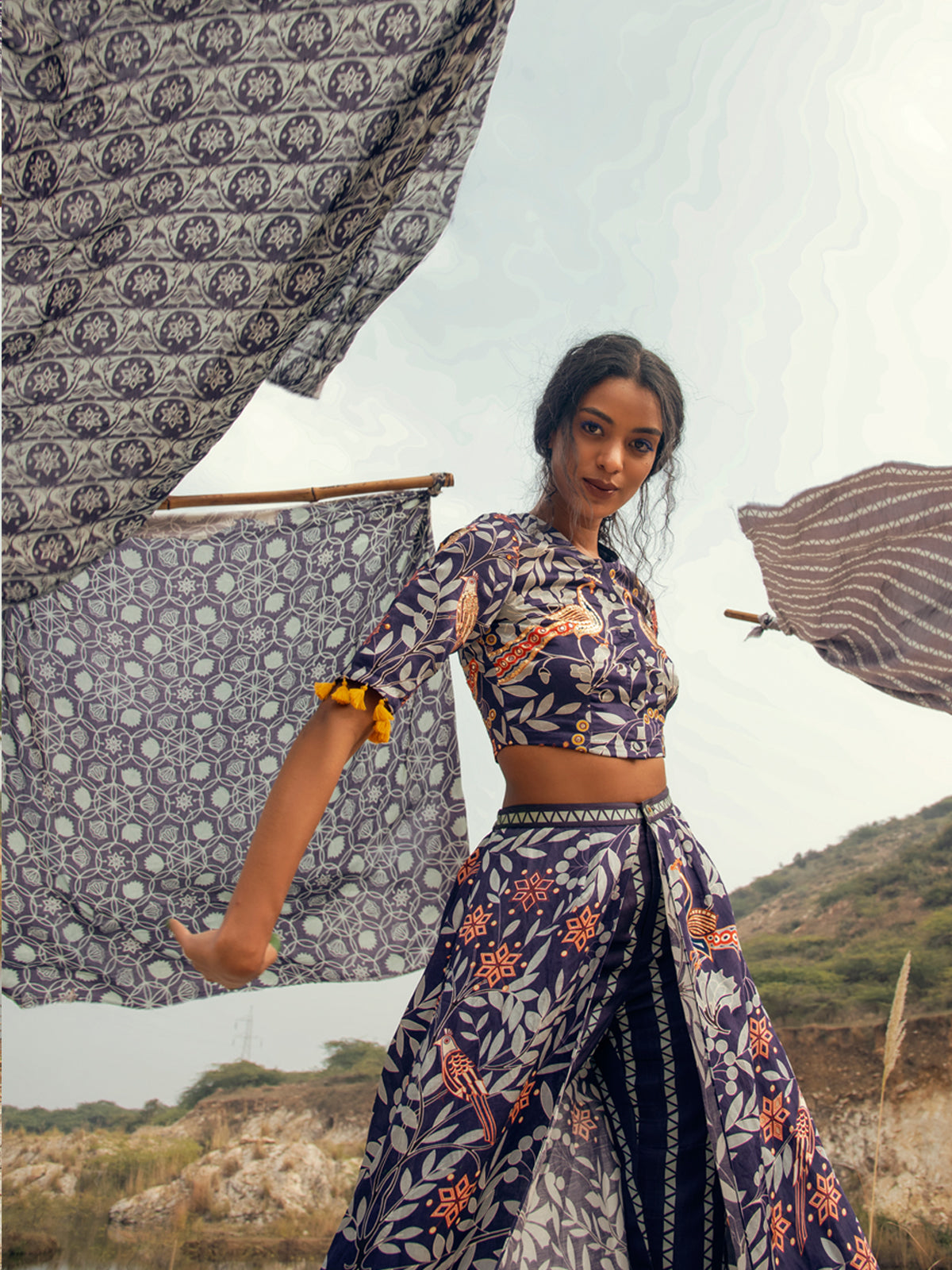 MORBAGH PRINTED EMBROIDED CROP TOP WITH WRAP PANTS