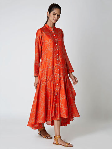 Amber Bundi Chanderi Asymmetrical Dress