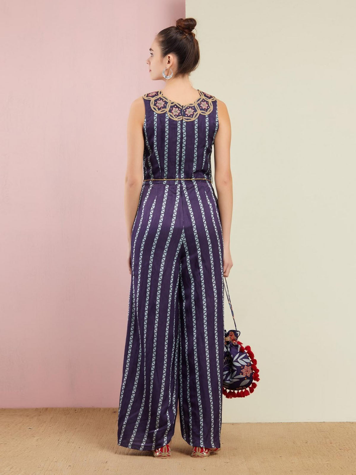BLUE EMBROIDERED YOKE JUMPSUIT WITH GOLDEN BELT