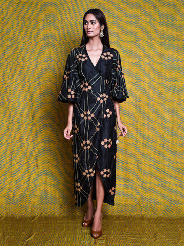 DRESS, Asymmetrical dress, drape dress, contemporary indian apparel, indiandesignerwear, pink, embroidered, modern, indianapparel, swativijaivargie, festivewear, occasionwear