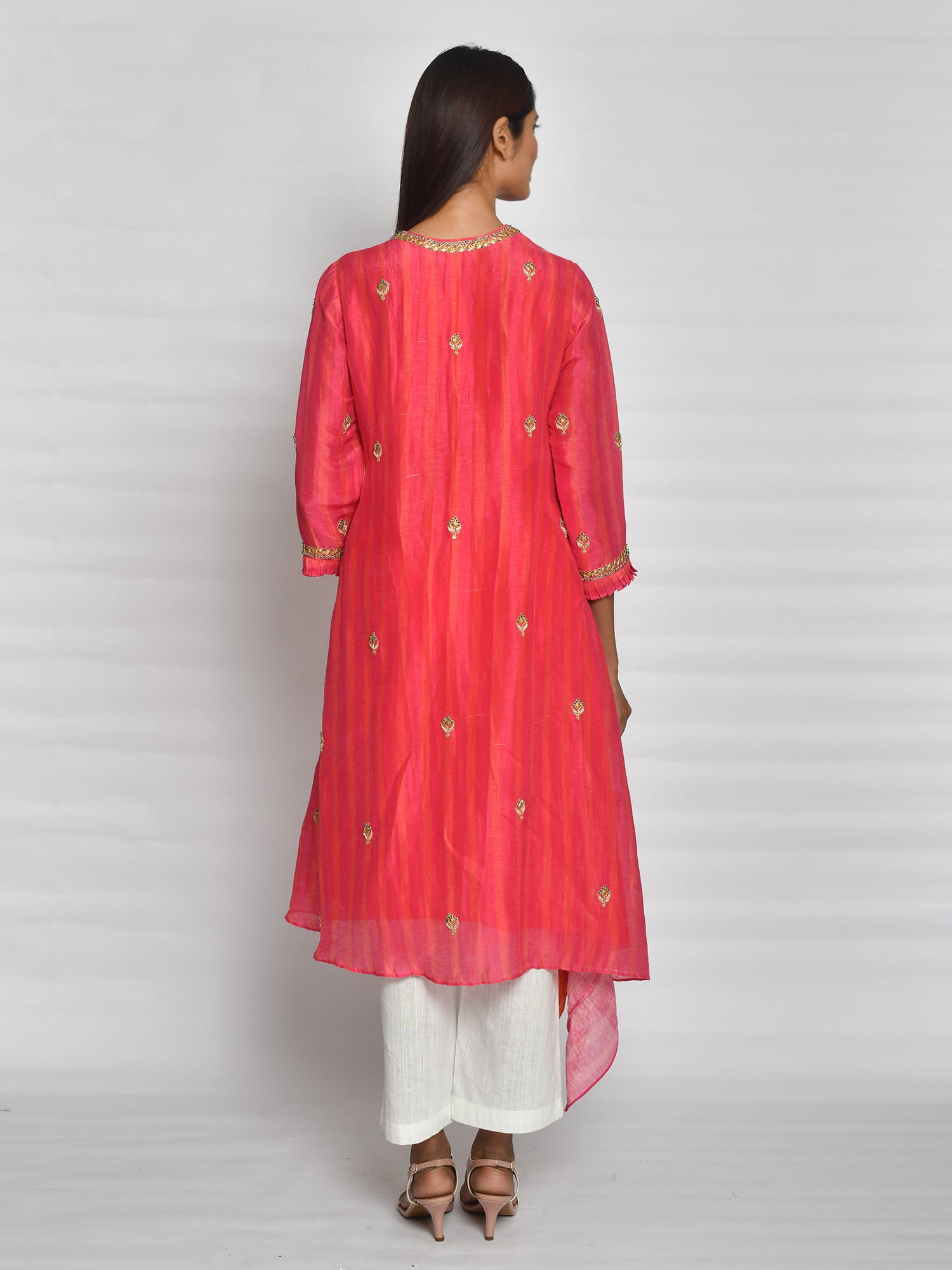 Rani Pink Asymmetrical Tunic Set