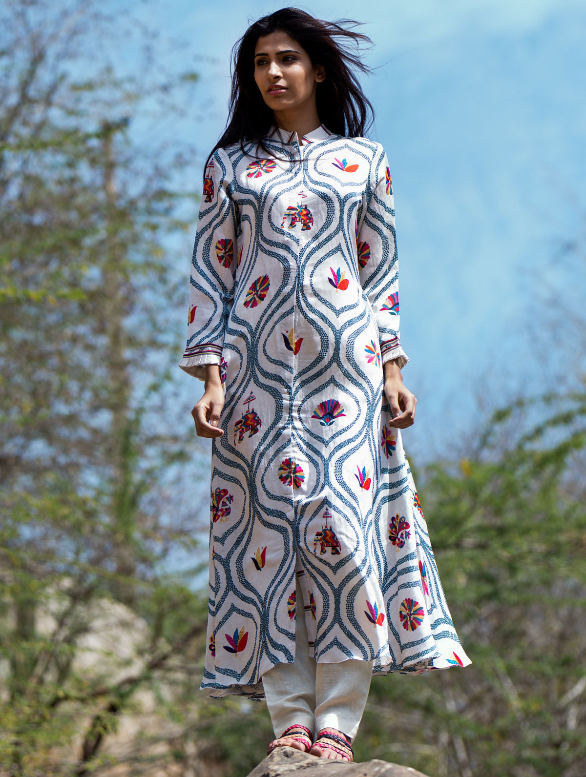 Love For Stripes Jaal Print Kurta