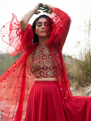 MORBAGH RED EMBROIDERED LEHENGA WITH HALTER AND CAPE