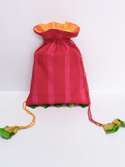 HOT PINK STRIPES SHIBORI POTLI BAG