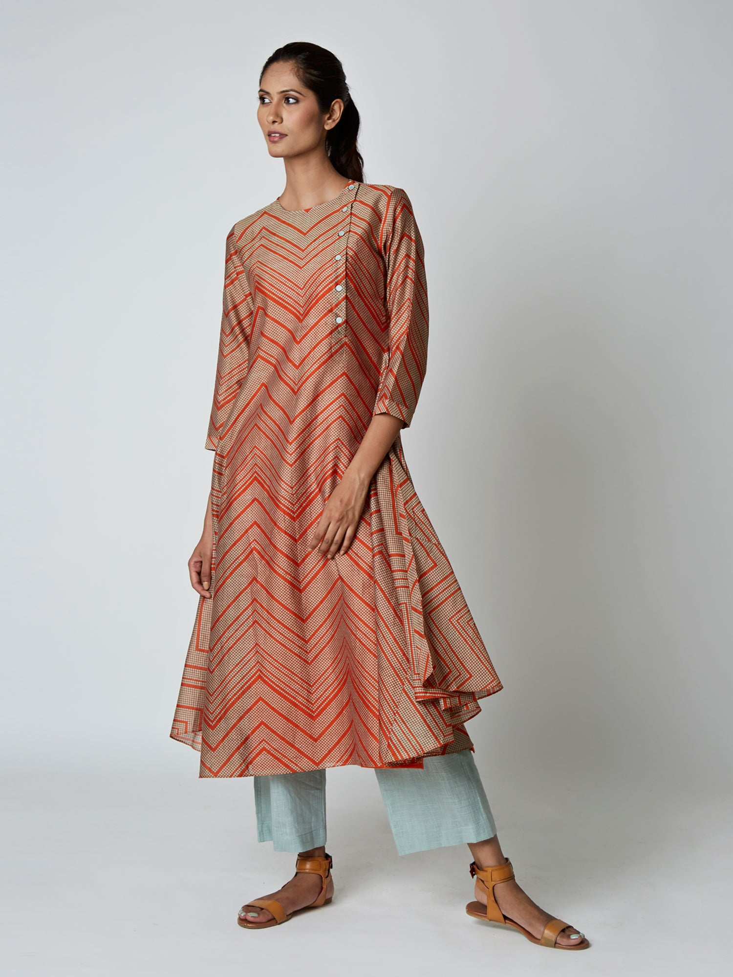 Orange Bundi Stripe Chanderi Kurta