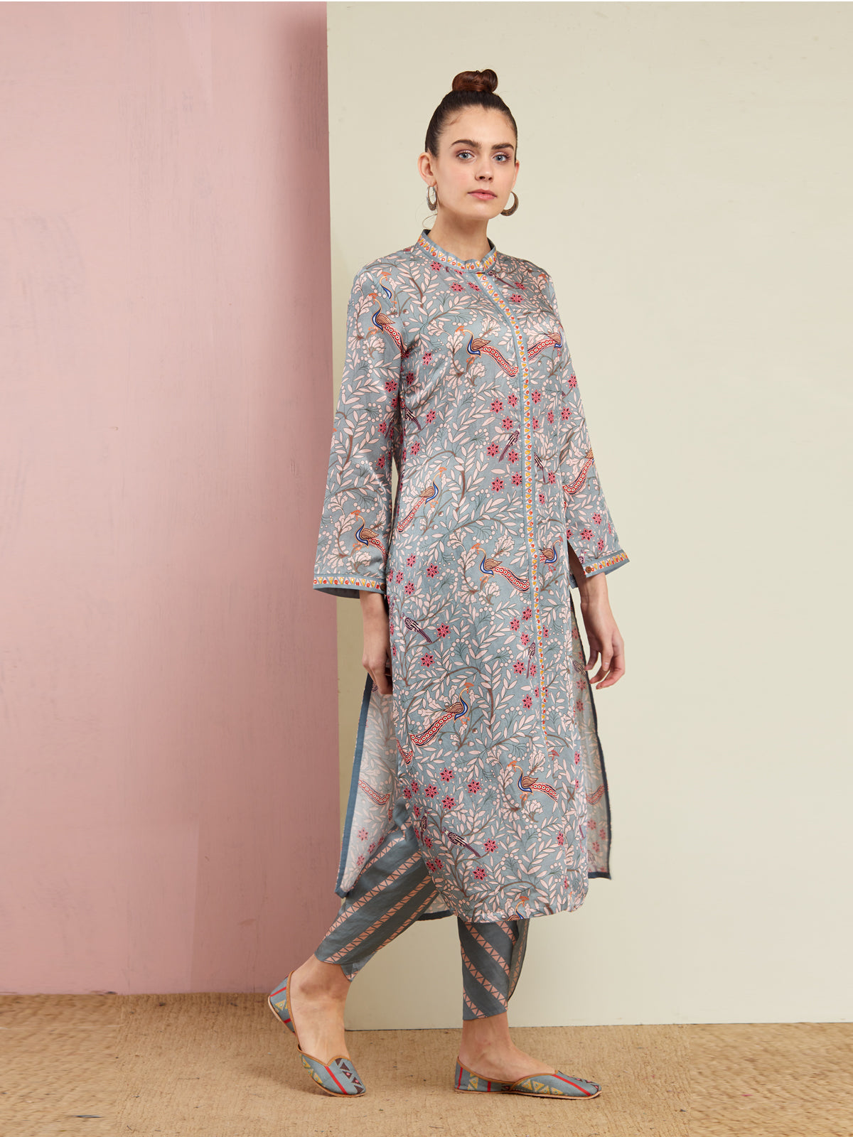 MORBAGH GREY PRINTED KURTA