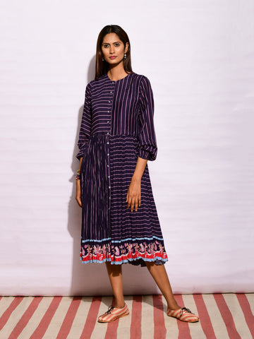 Ruby Stripe Applique Kurta