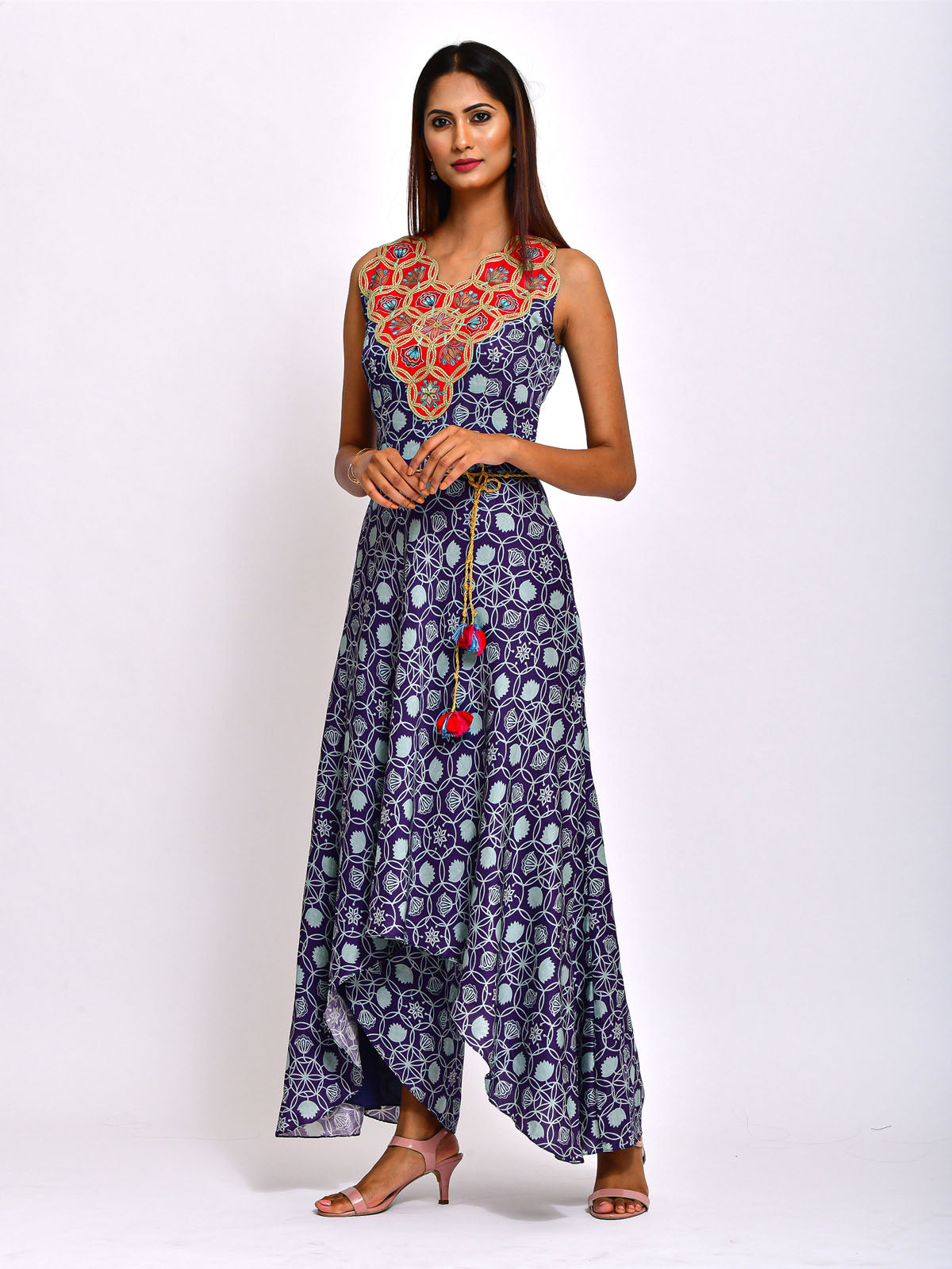 MORBAGH KAMAL NAVY BLUE EMBROIDED AND PRINTED  JUMPSUIT