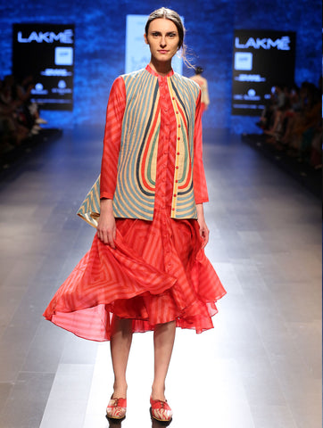 Bagh Applique Jacket And Stripe Dress