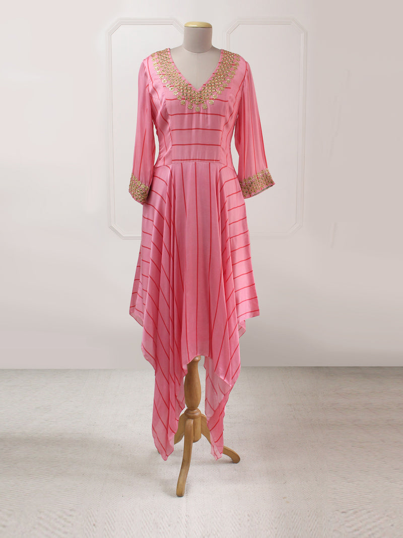 BLUSH STRIPED DANKA ASYMMERTRICAL DRESS