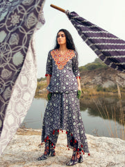 KAMAL NAVY SKIRT PANT WITH EMBROIDERED TOP