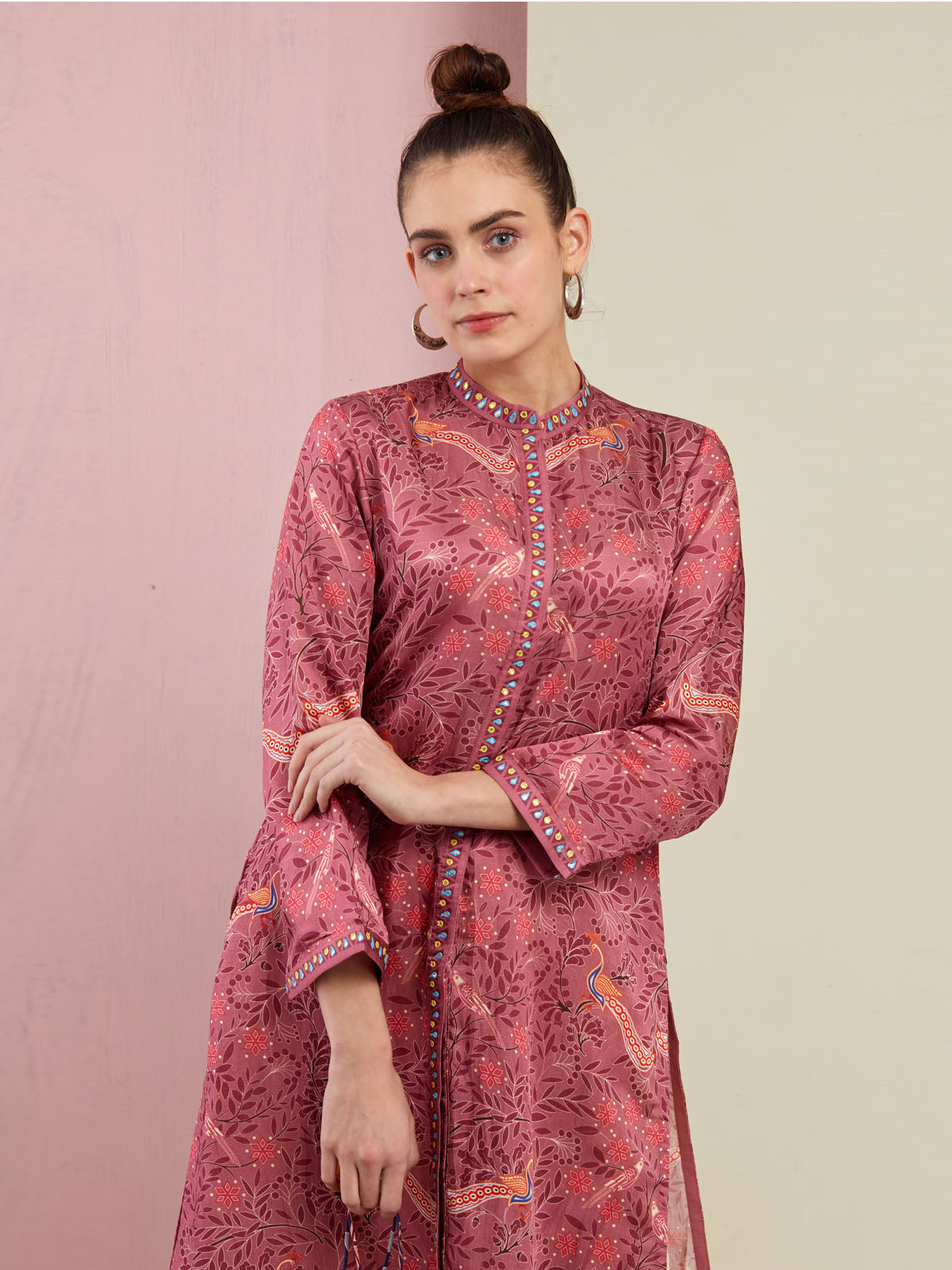 MORBAGH ROSE SMALL PEACOCK PRINTED KURTA WITH PANTS