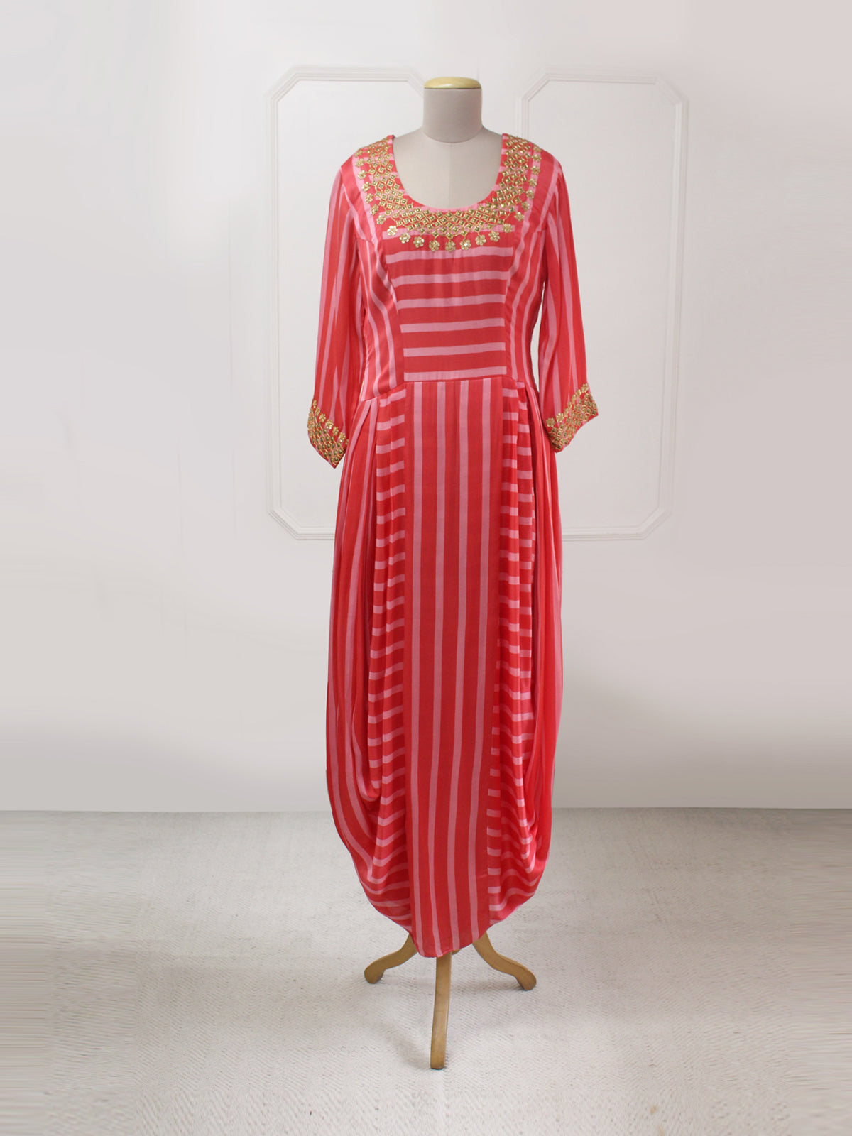 RED BLUSH STRIPED DANKA DHOTI DRESS