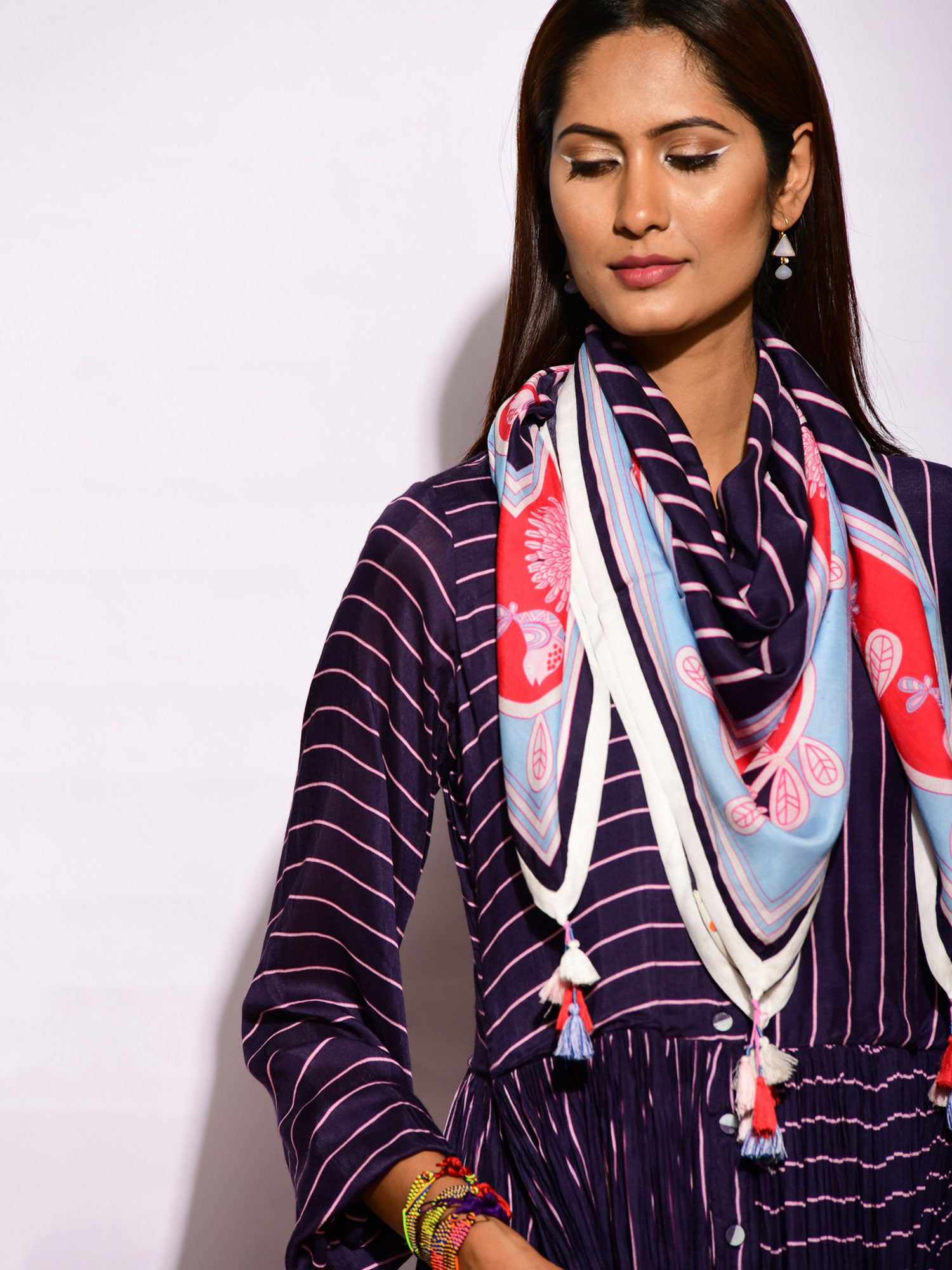 In Bloom Navy Printed Scarf