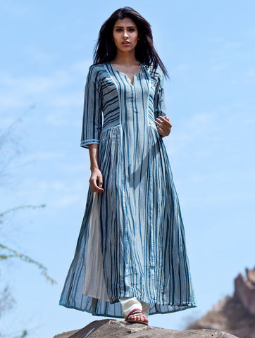 Love For Stripes Printed Teal Kurta