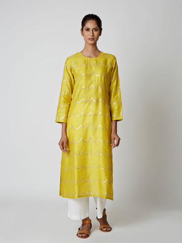 Lime Tussar Silk Scallop Kurta
