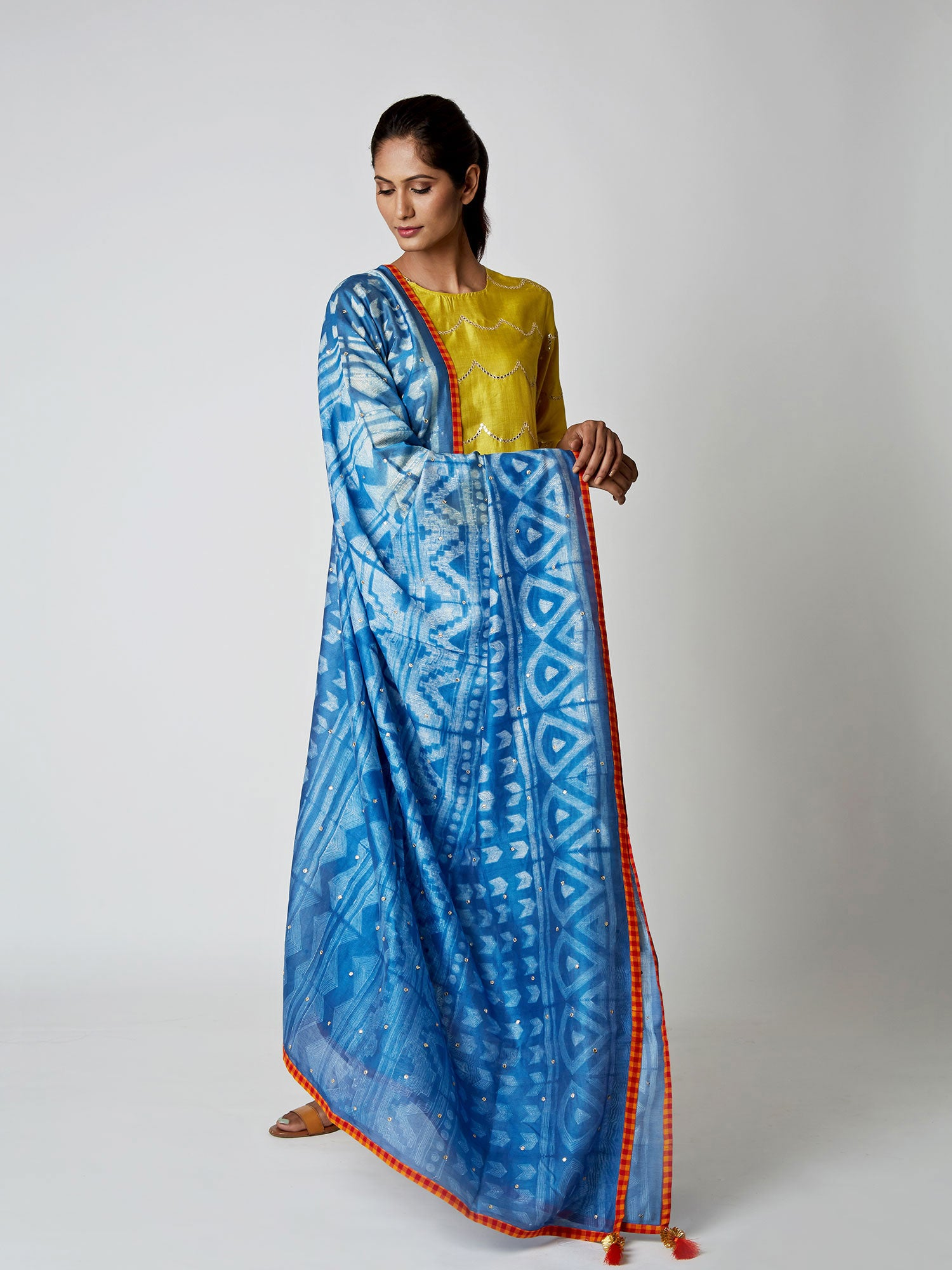 Indigo Chanderi Tribal Dupatta