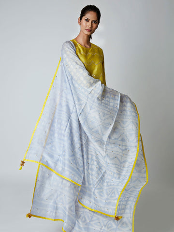 Sky Chanderi Tribal Dupatta