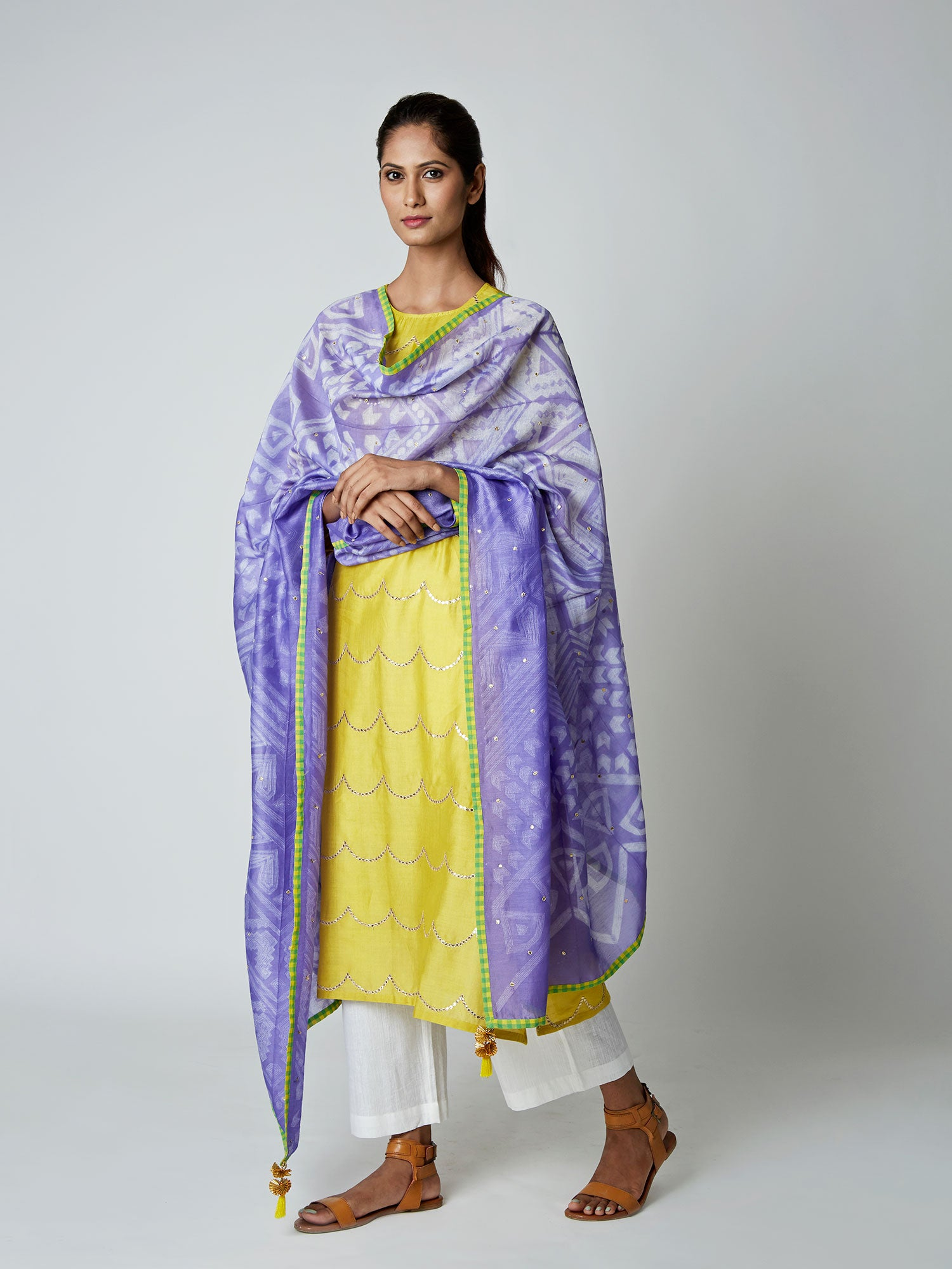 Violet Chanderi Tribal Dupatta