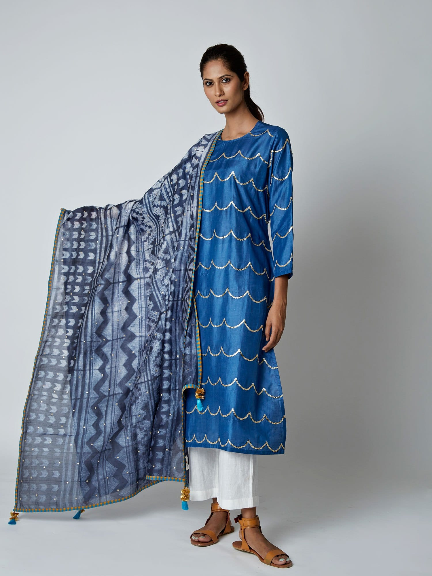 Charcoal Chanderi Tribal Dupatta