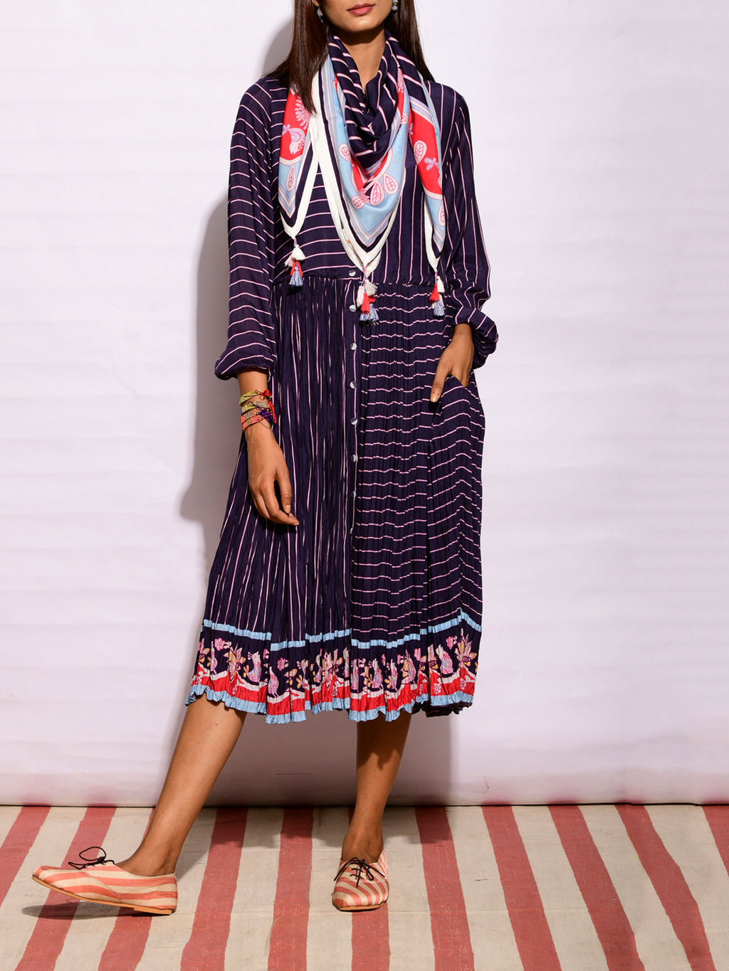 In Bloom Navy Striped Crush Dress