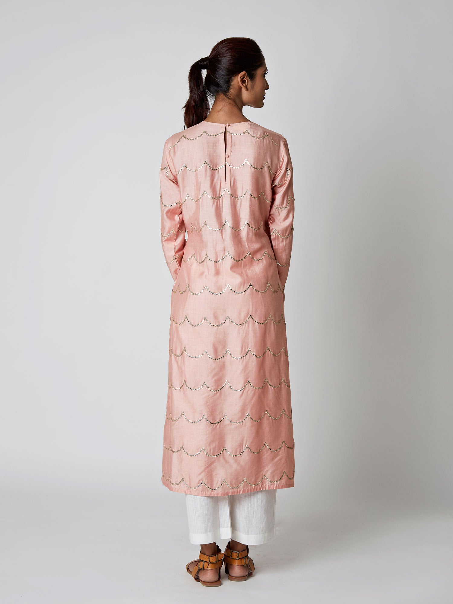 Blush Tussar Silk Scallop Kurta