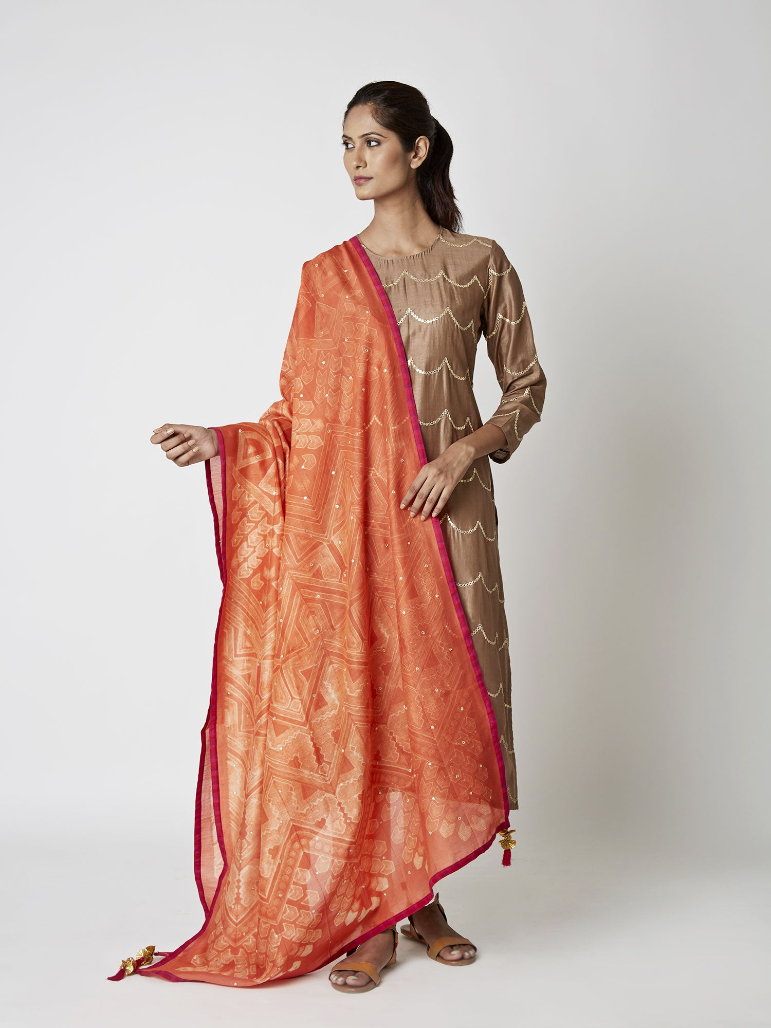 Amber Chanderi Tribal Dupatta