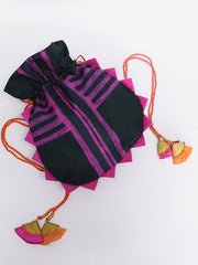 BLACK WITH PINK STRIPES ROUND SHIBORI POTLI BAG