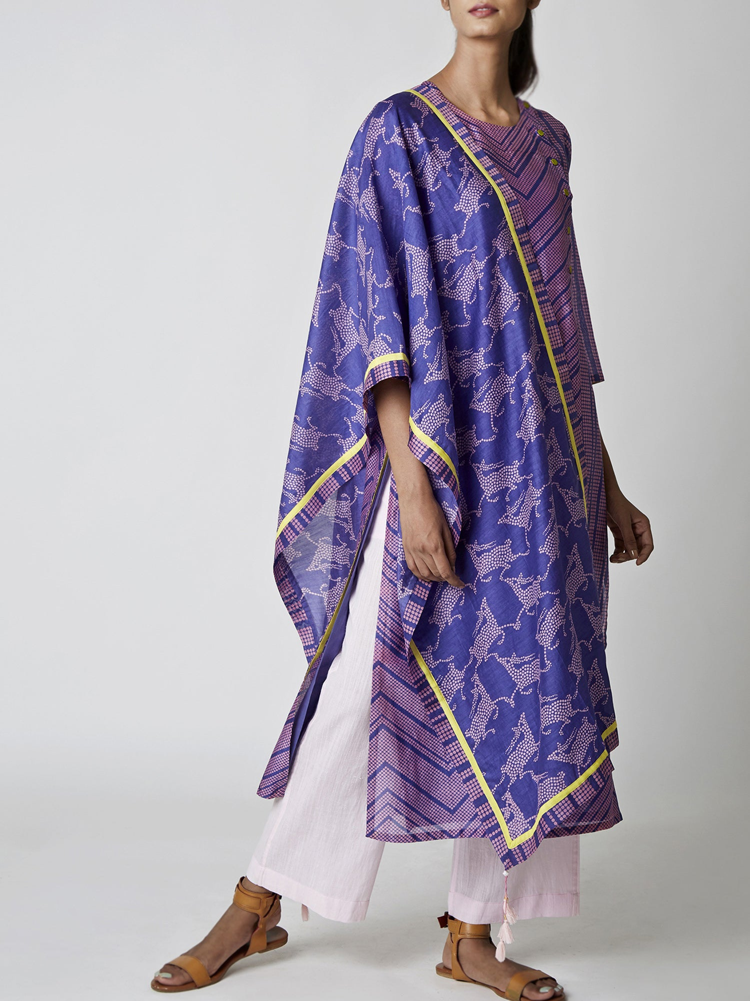Purple Deer Print Chanderi Stole