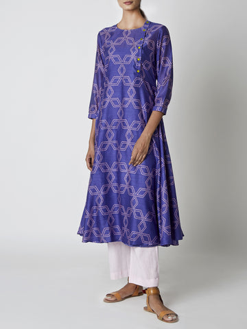 Purple Bundi Printed Flared Kurta