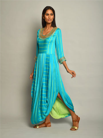 DRESS, dhoti dress, drape dress, contemporary indian apparel, indiandesignerwear, turquoise, embroidered, modern, indianapparel, swativijaivargie, festivewear, occasionwear