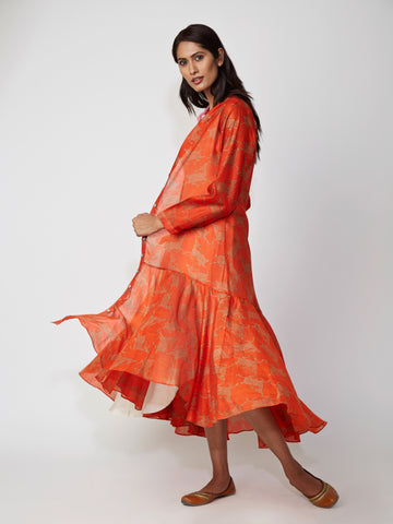 Amber Deer Bundi Chanderi Asymmetrical Dress