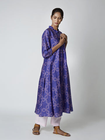 chanderi, tunics, kurtas, madeinjaipur, purple, silk, printed, bundi, indianfashion, indiandesigner, festivefashion, swativijaivargie