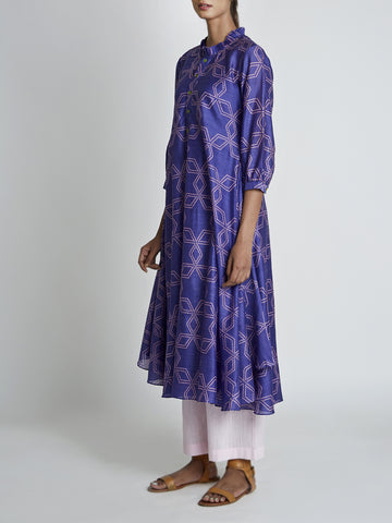 Purple Bundi Printed Frill Kurta