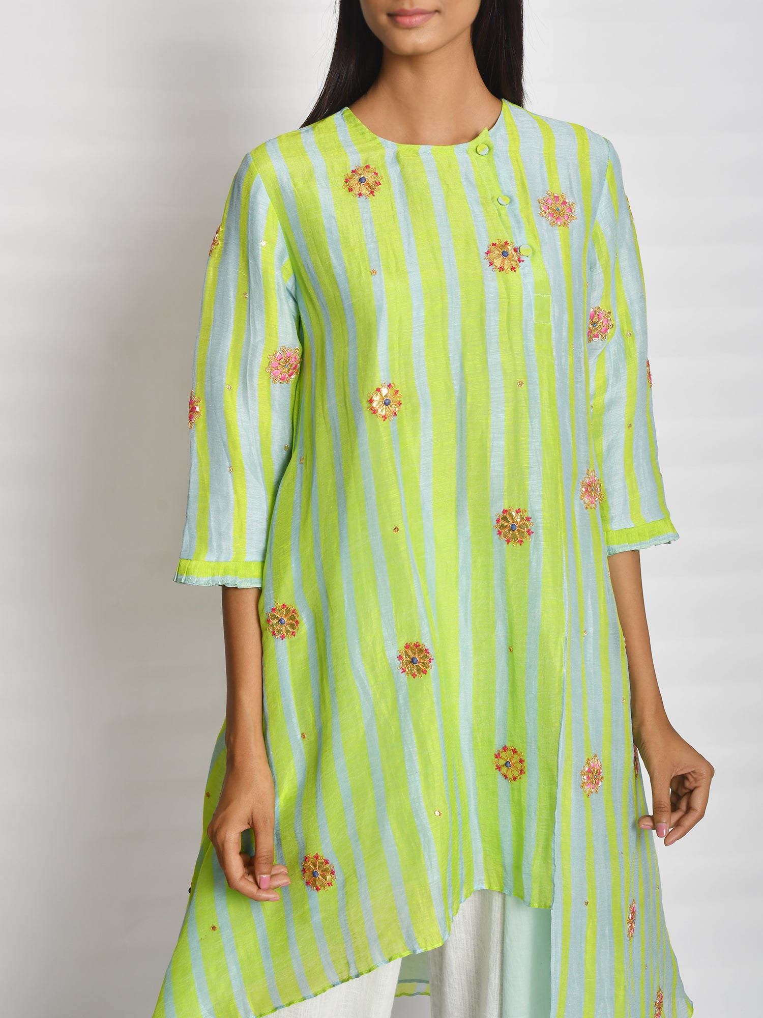 Lime Green Asymmetrical Tunic Set