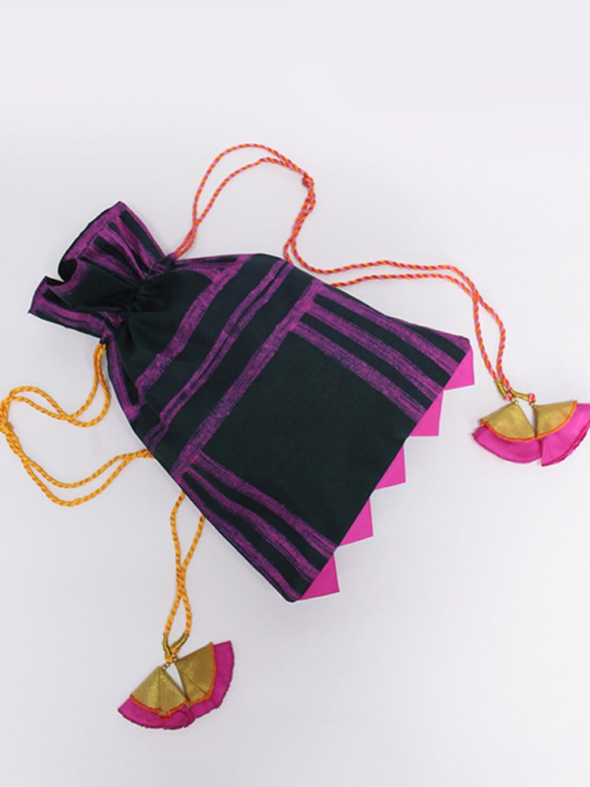 BLACK WITH PINK STRIPES SHIBORI POTLI BAG