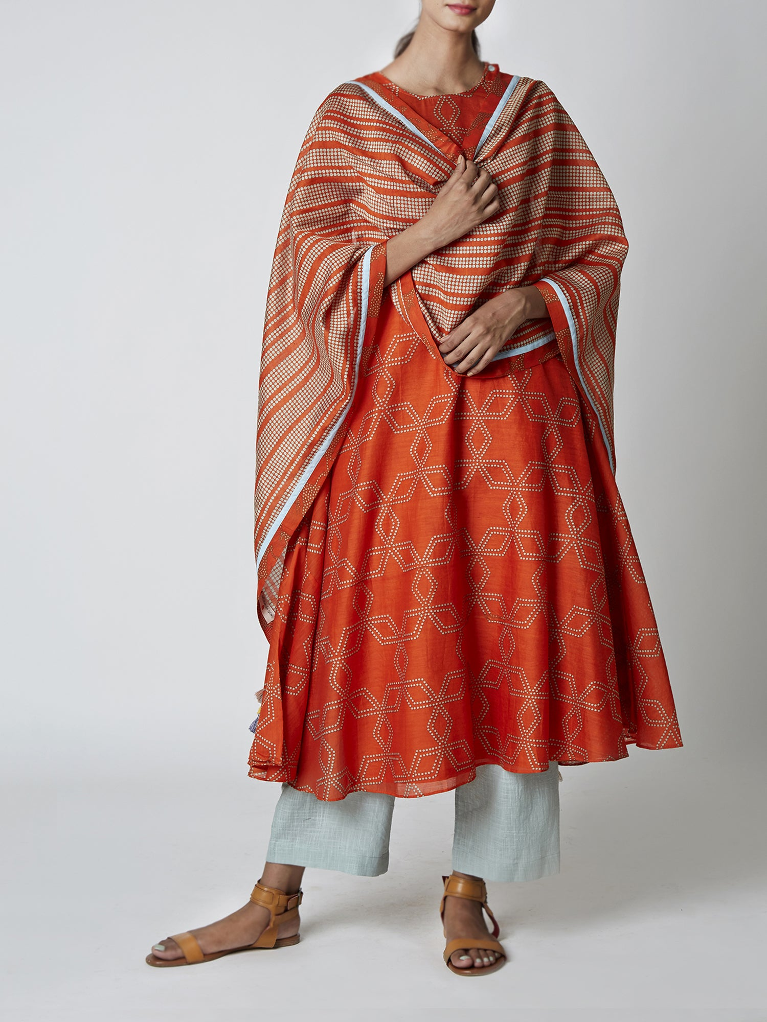 Amber Striped Chanderi Stole