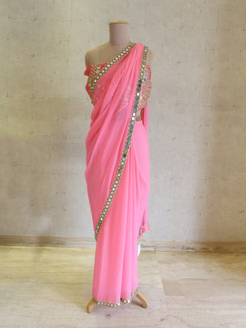 MOR SHORT SAREE WITH EMBROIDERED BLOUSE AND JACKET