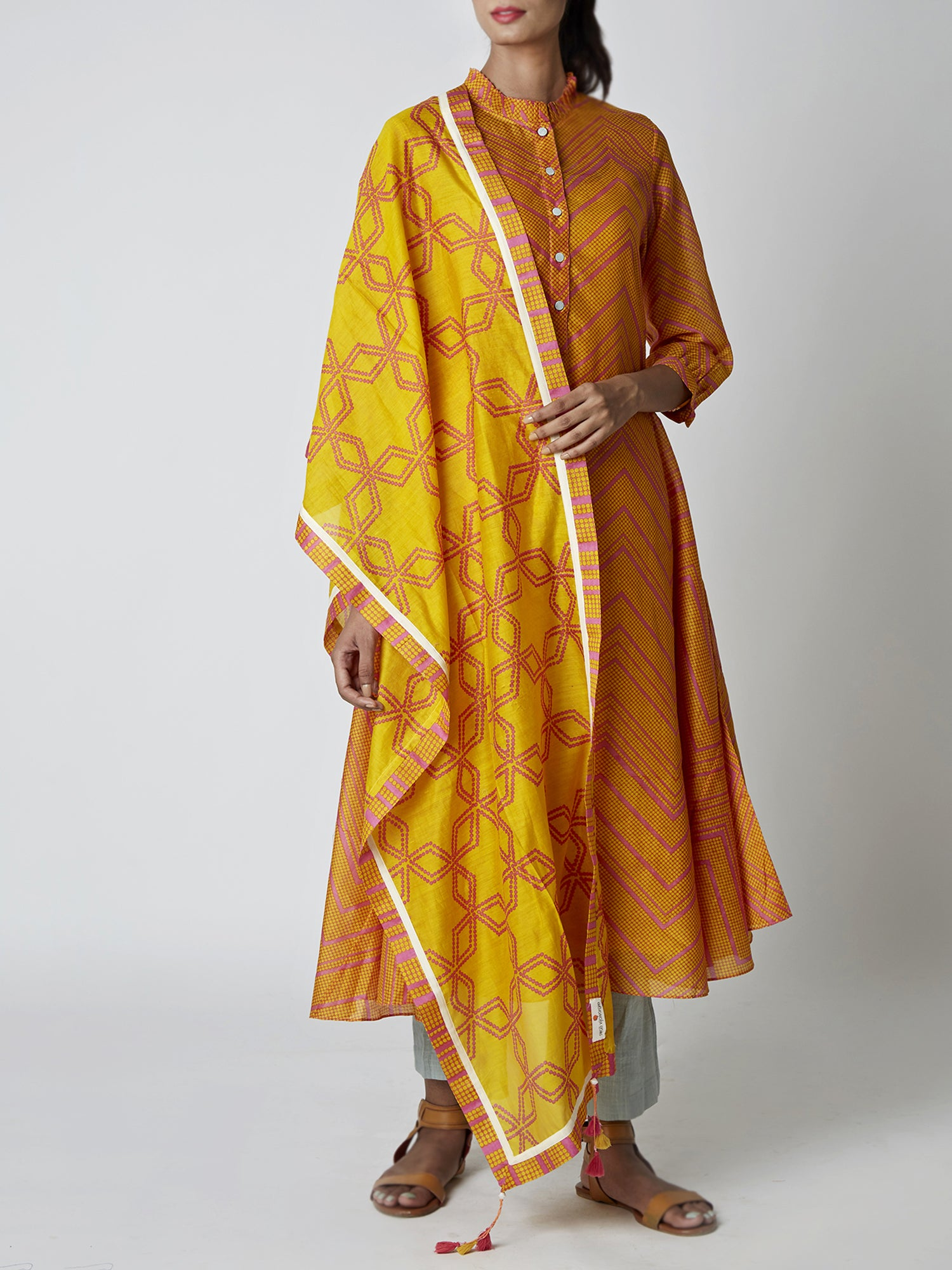 Yellow Jaal Print Chanderi Stole