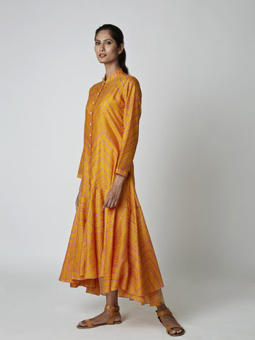 Yellow Bundi Chanderi Asymmetrical Dress
